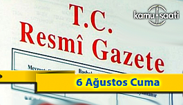 6 Ağustos Cuma 2021 Resmi Gazete Kararları