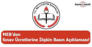 MEB'den sınav ücretlerine ilişkin basın açıklaması