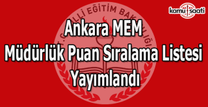 Ankara MEM Müdürlük Puan Sıralama Listesi Yayımlandı