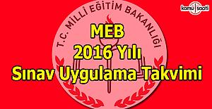 MEB 2016 yılı sınav takvimi