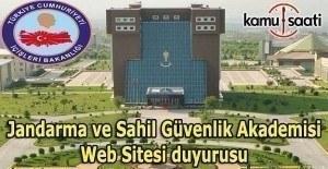 Jandarma ve Sahil Güvenlik Akademisi Web Sitesi duyurusu
