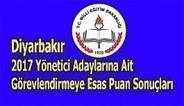 Diyarbakır 2017 Yönetici Adaylarına Ait Görevlendirmeye Esas Puan Sonuçları