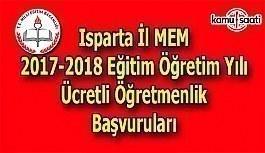 Isparta İl MEM 2017 Ücretli Öğretmenlik Başvuru Duyurusu