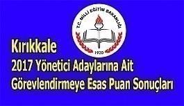 Kırıkkale 2017 Yönetici Adaylarına Ait Görevlendirmeye Esas Puan Sonuçları