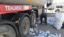 Yakıt tankerinde 90 bin paket sigara ele geçirildi