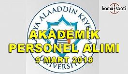 Alanya Alaaddin Keykubat Üniversitesi akademik personel alım ilanı - 9 Mart 2018