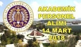 Atatürk Üniversitesi 41 Akademik Personel Alacak - 14 Mart 2018