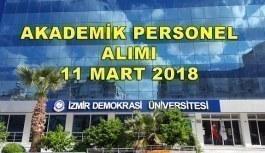 İzmir Demokrasi Üniversitesi 18 Akademik Personel Alımı - 11 Mart 2018