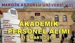 Mardin Artuklu Üniversitesi akademik personel alımı - 13 Mart 2018