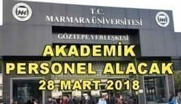 Marmara Üniversitesi 12 Akademik Personel Alacak - 28 Mart 2018