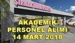 Şırnak Üniversitesi akademik personel alımı yapacak - 14 Mart 2018