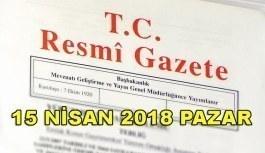 15 Nisan 2018 Pazar TC Resmi Gazete