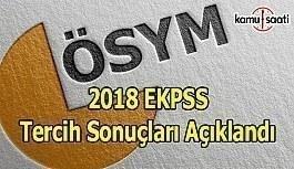 2018 EKPSS Tercih Sonuçları Açıklandı