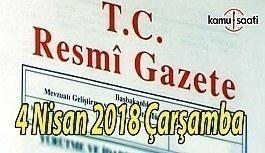 4 Nisan 2018 Çarşamba Tarihli TC Resmi Gazete