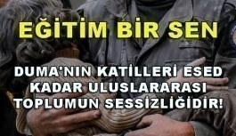 Eğitim Bir Sen: Duma'nın katilleri Esed kadar uluslararası toplumun sessizliğidir!