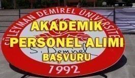 Süleyman Demirel Üniversitesi Akademik Personel Alım İlanı 2018