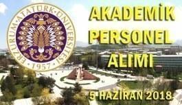 Atatürk Üniversitesi 48 Akademik Personel Alımı - 5 Haziran 2018
