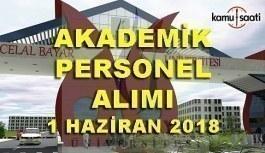Manisa Celal Bayar Üniversitesi 22 Akademik Personel Alım İlanı - 1 Haziran 2018