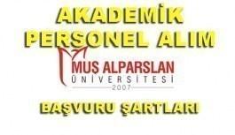 Muş Alparslan Üniversitesi 10 Akademik Personel Alacak - Başvuru şartları