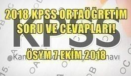 2018 KPSS Ortaöğretim soru ve cevapları! ÖSYM 7 Ekim 2018