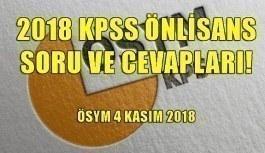 2018 KPSS Önlisans soru ve cevapları! ÖSYM 4 Kasım 2018