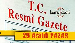 29 Aralık 2019 Pazar 30993 TC Resmi Gazete Kararları