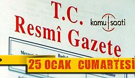 25 Ocak 2020 Cumartesi TC Resmi Gazete Kararları