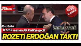 Başkan Recep Tayyip Erdoğan İncesu Belediye Başkanı Mustafa İlmek'e Ak Parti Rozetini Taktı