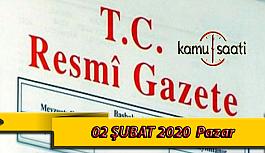 02 Şubat 2020 Pazar TC Resmi Gazete Kararları