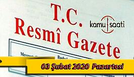 03 Şubat 2020 Pazartesi TC Resmi Gazete Kararları