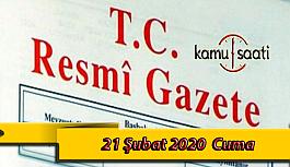 20 Şubat 2020 Cuma TC Resmi Gazete Kararları