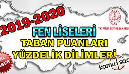 Fen Liseleri Taban Puanları Yüzdelik Dilimleri Öğrenci Kontenjanları 2019 - 2020 LGS