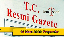 19 Mart 2020 Perşembe TC Resmi Gazete Kararları