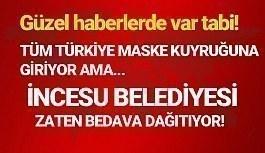 İncesu belediyesi halkına ücretsiz maske...