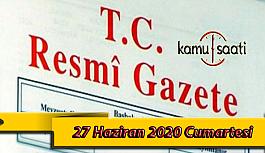 27 Haziran 2020 Cumartesi TC Resmi Gazete Kararları