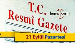 21 Eylül Pazartesi Resmi Gazete Kararları