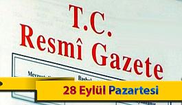 28 Eylül Pazartesi Resmi Gazete Kararları