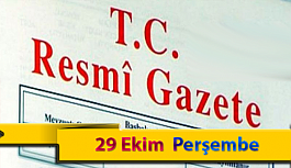 29 Ekim Perşembe Resmi Gazete Kararları