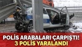 TEM Otoyolu'nda polis araçları birbirine girdi, 3 polis yaralandı