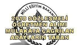 2018 Sözleşmeli Öğretmen alımı mülakata çağrılan adaylar taban puanları