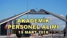 Erciyes Üniversitesi akademik personel ilanı - 19 Mart 2018