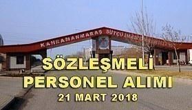 Kahramanmaraş Sütçü İmam Üniversitesi Sözleşmeli Personel Alım ilanı - 21 Mart 2018