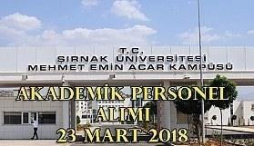 Şırnak Üniversitesi akademik personel alım ilanı - 23 Mart 2018