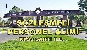 Cumhuriyet Üniversitesi 103 Sözleşmeli Personel Alım İlanı - 20 Nisan 2018