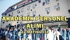 Adana Bilim Ve Teknoloji Üniversitesi Akademik Personel Alımı - 22 Mayıs 2018