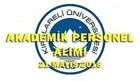 Kırklareli Üniversitesi 14 Akademik Personel Alacak - 21 Mayıs 2018
