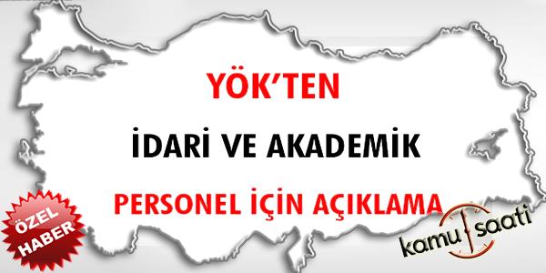 YÖK'ten idari ve akademik personel için açıklama