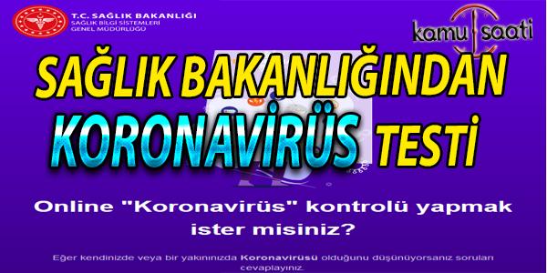 Sağlık Bakanlığı'ndan online koronavirüs testi