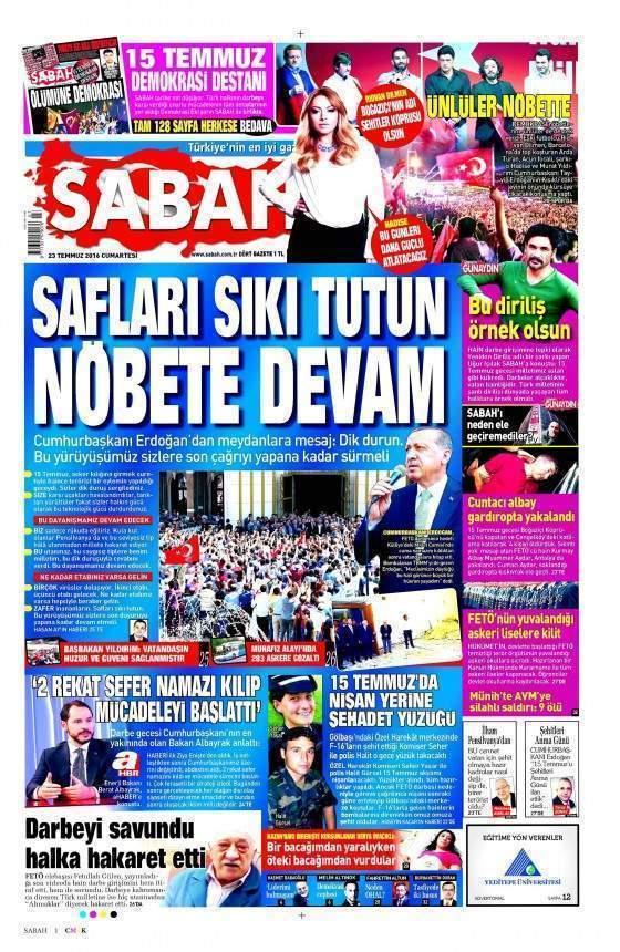 Sabah Gazetesi manşet